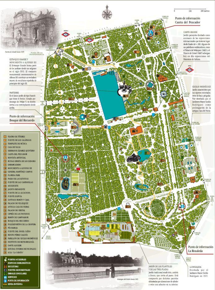 mapa el parque del retiro