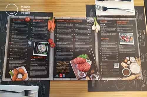 carta restaurante tates