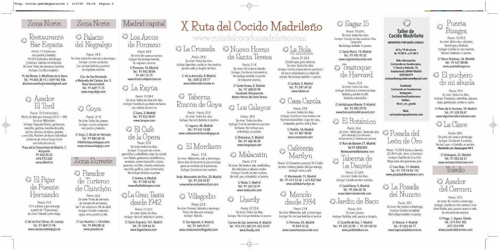 restaurantes participantes ruta del cocido madrid 2020